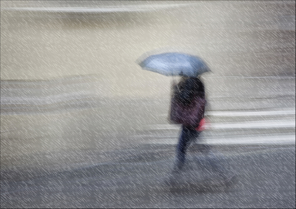 Blue umbrella in the rain by James Mccracken