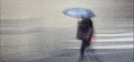 Blue umbrella in the rain by James Mccracken